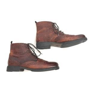 Ashon Grey Brown Leather Lace up Ankle Boots 8